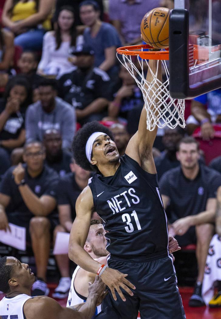 Brooklyn Nets center Jarrett Allen dunks the ball over the Minnesota Timberwolves during the fi ...