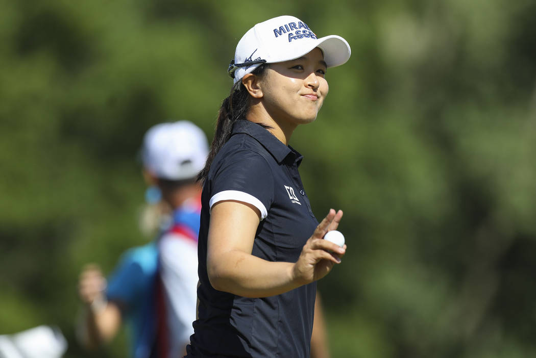 Sei Young Kim smiles and waves at the crowd as she wins the Marathon LPGA Classic tournament on ...