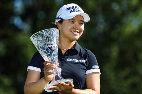 Sei Young Kim holds the trophy after winning the Marathon LPGA Classic tournament on Sunday Jul ...