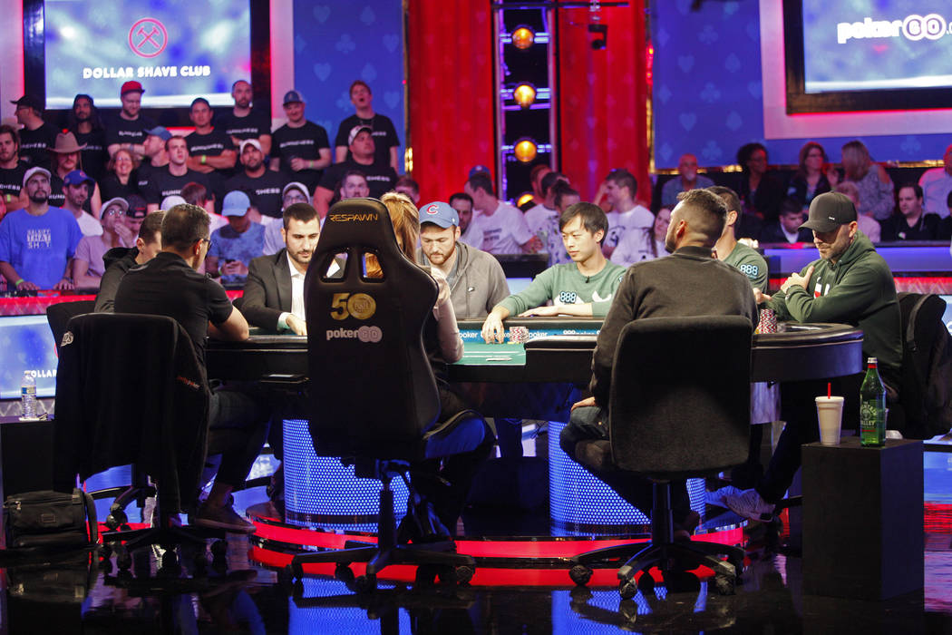 The main event final table of nine players during the World Series of Poker at the Rio hotel-ca ...