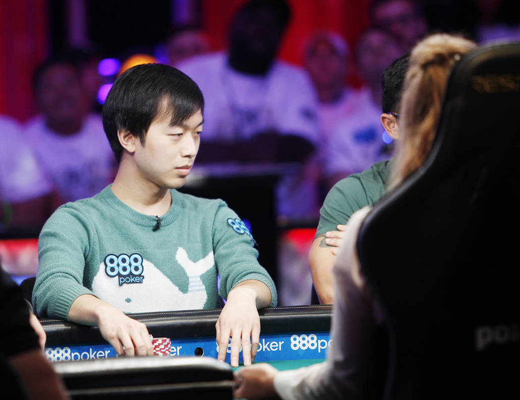 Timothy Su at the main event final table during the World Series of Poker at the Rio hotel-casi ...