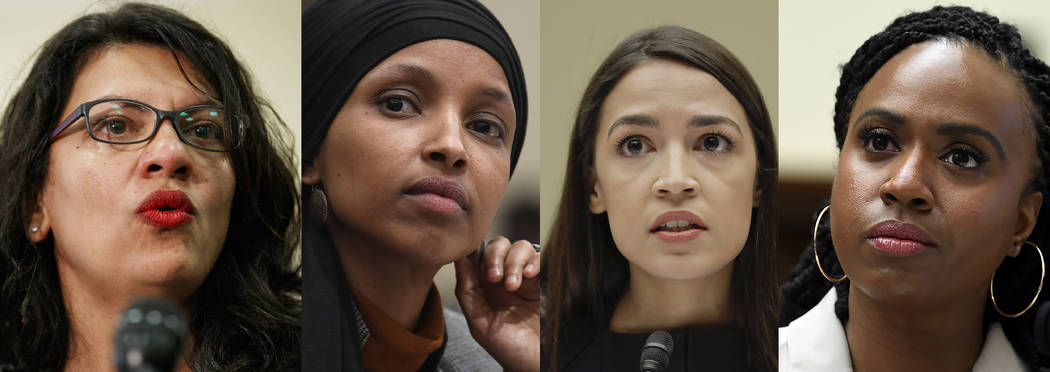 In this combination image from left; Rep. Rashida Tlaib, D-Mich., July 10, 2019, Washington, Re ...