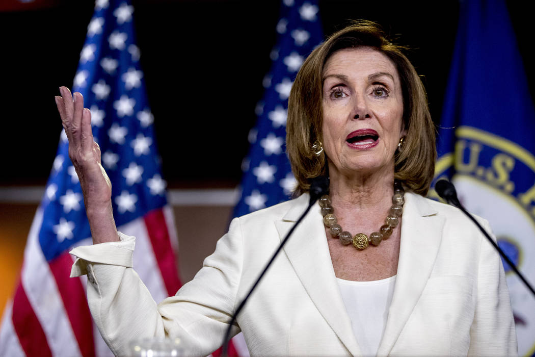 House Speaker Nancy Pelosi of Calif. meets with reporters on Capitol Hill in Washington, Thursd ...