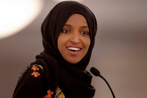 In a May 18, 2019, file photo, Rep. Ilhan Omar, D-Minn., speaks during the fourth annual Citywi ...