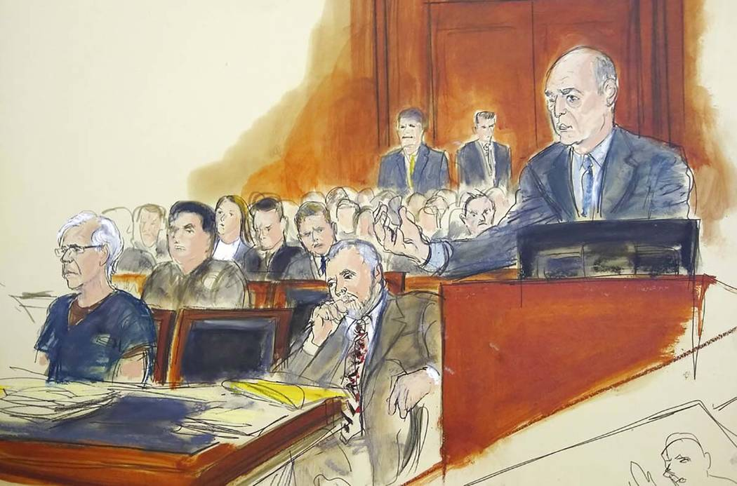 In this courtroom artist's sketch, defendant Jeffrey Epstein, left, and attorney Reid Weingarte ...