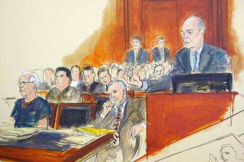 In this courtroom artist's sketch, defendant Jeffrey Epstein, left, and attorney Reid Weingarte ...