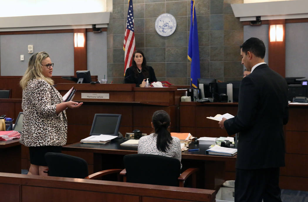 Review-Journal attorney, Maggie McLetchie, left, addresses the court as Justice of the Peace Ha ...