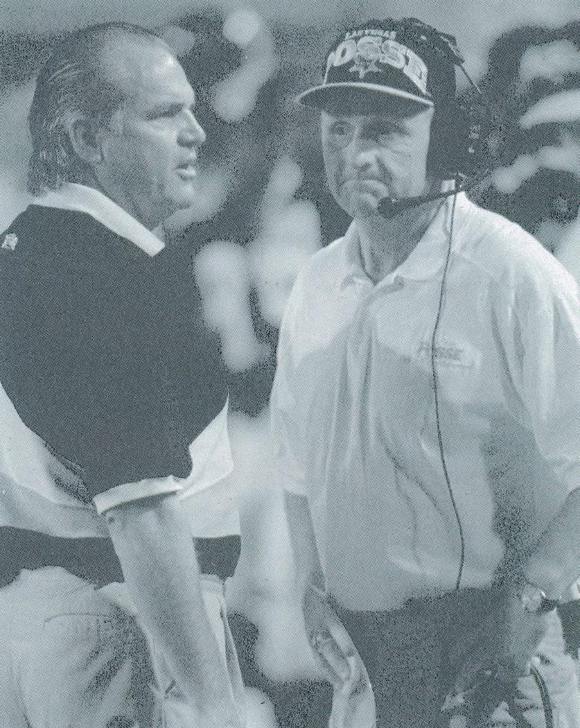 Las Vegas Posse head coach Ron Meyer, left, and coach Ron Smeltzer at a Posse home game Sept. 8 ...