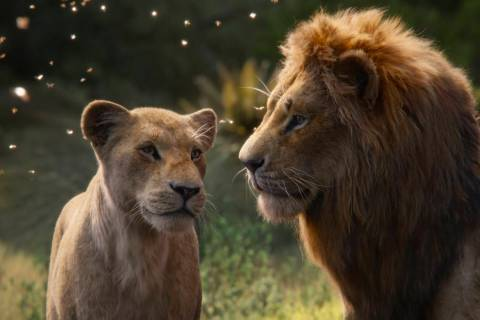 This image released by Disney shows Nala, voiced by Beyoncé Knowles-Carter, left, and Simb ...