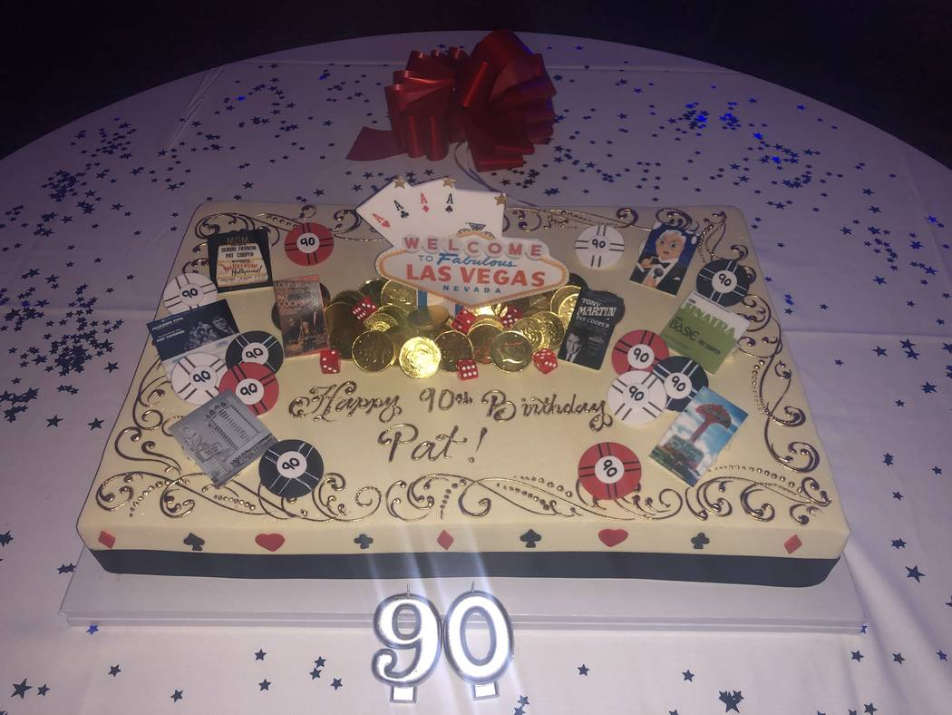 Pat Cooper's birthday cake is shown at Italian American Club during Cooper's 90th birthday part ...