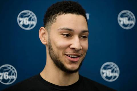 Philadelphia 76ers' Ben Simmons speaks with members of the media at the team's NBA basketball t ...