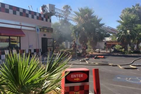 Las Vegas arson investigators believe a fire at Checkers restaurant, 1900 E. Charleston Blvd., ...