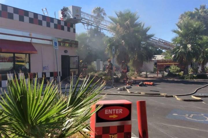 Las Vegas arson investigators believe a fire at Checkers restaurant, 1900 E. Charleston Blvd., ...