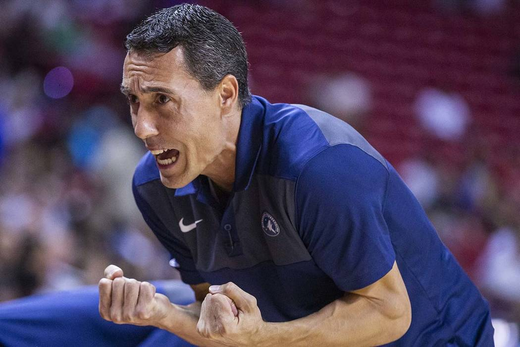 Minnesota Timberwolves head coach Pablo Prigioni yells instructions to his players versus the M ...