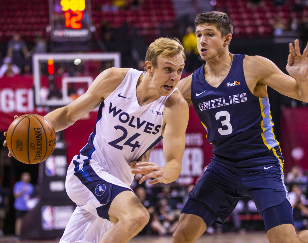 Minnesota Timberwolves guard Canyon Barry, left, drives the lane on Memphis Grizzlies guard Gra ...