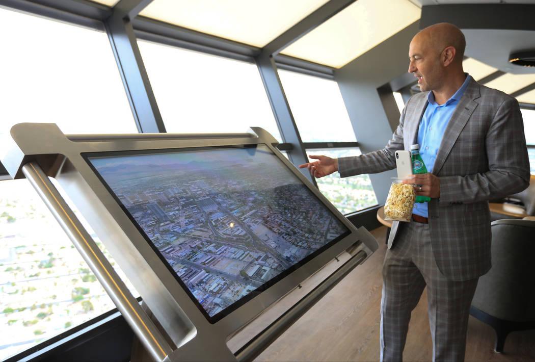 Brad Goldberg, senior vice president of marketing for Golden Entertainment, shows off an intera ...