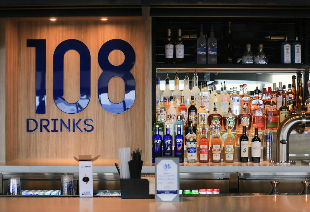 108 Drinks, a new bar on the observation deck of the Strat hotel casino, in Las Vegas on Friday ...