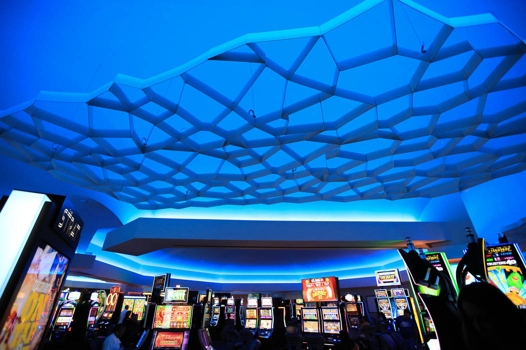 New lighting and ceiling sculptures adorn the gaming floor during ongoing renovations at the St ...