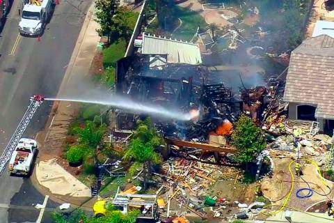 This image from video provided by CBS-LA shows the aftermath of an explosion that destroyed a h ...