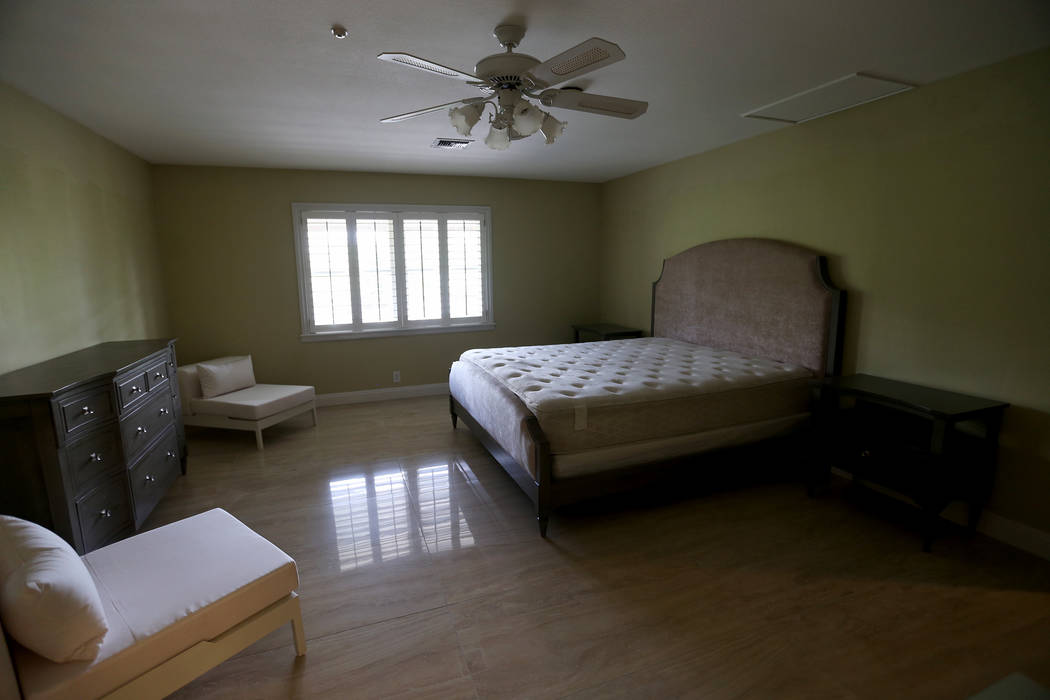 A bedroom at the former house of Jerry Lewis in Las Vegas, Wednesday, May 15, 2019. (Rachel Ast ...