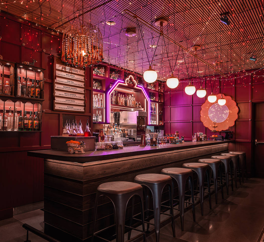 Mezcal bar Ghost Donkey, at The Cosmopolitan of Las Vegas, is in a secluded space with a door a ...