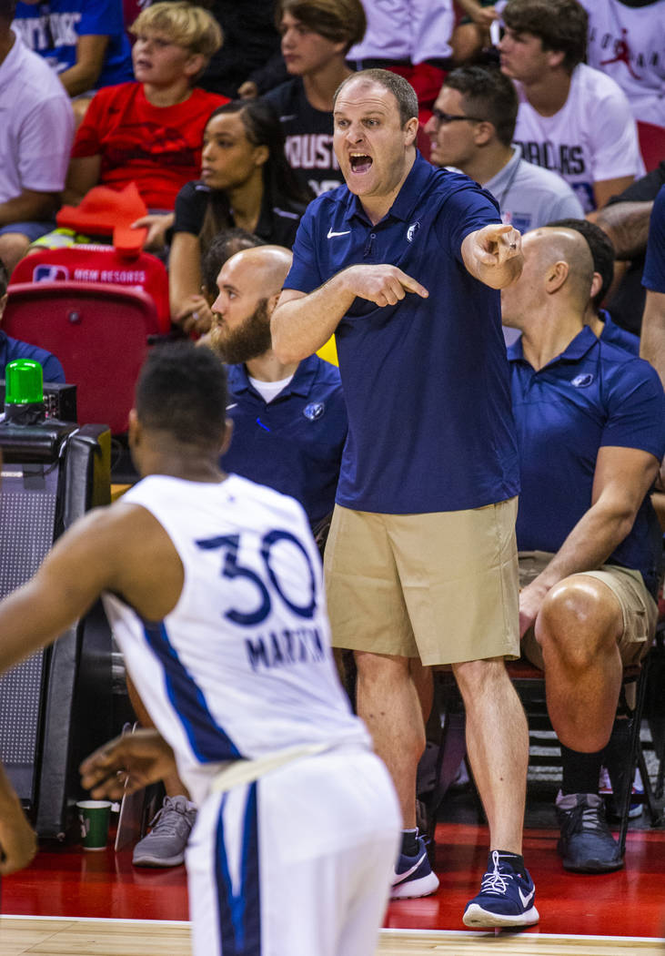 Memphis Grizzlies head coach Taylor Jenkins makes another play call versus the Minnesota Timber ...