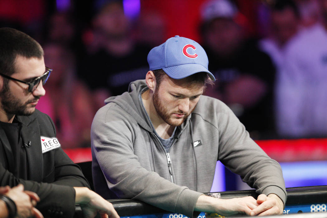 Kevin Maahs on the second day of the main event final table at the World Series of Poker tourna ...