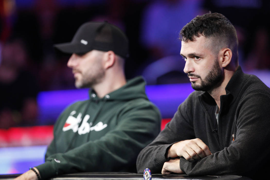 Alex Livingston on the second day of the main event final table at the World Series of Poker to ...