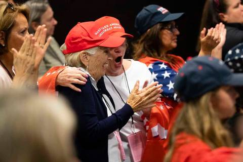 Attendees cheer during a Women For Trump campaign rally for President Donald Trump in King of P ...