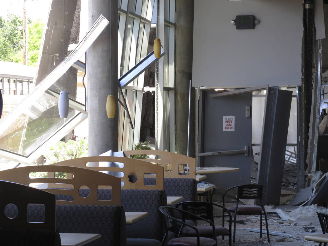 A first-floor cafeteria at a University of Nevada, Reno dormitory was damaged after a July 5 na ...