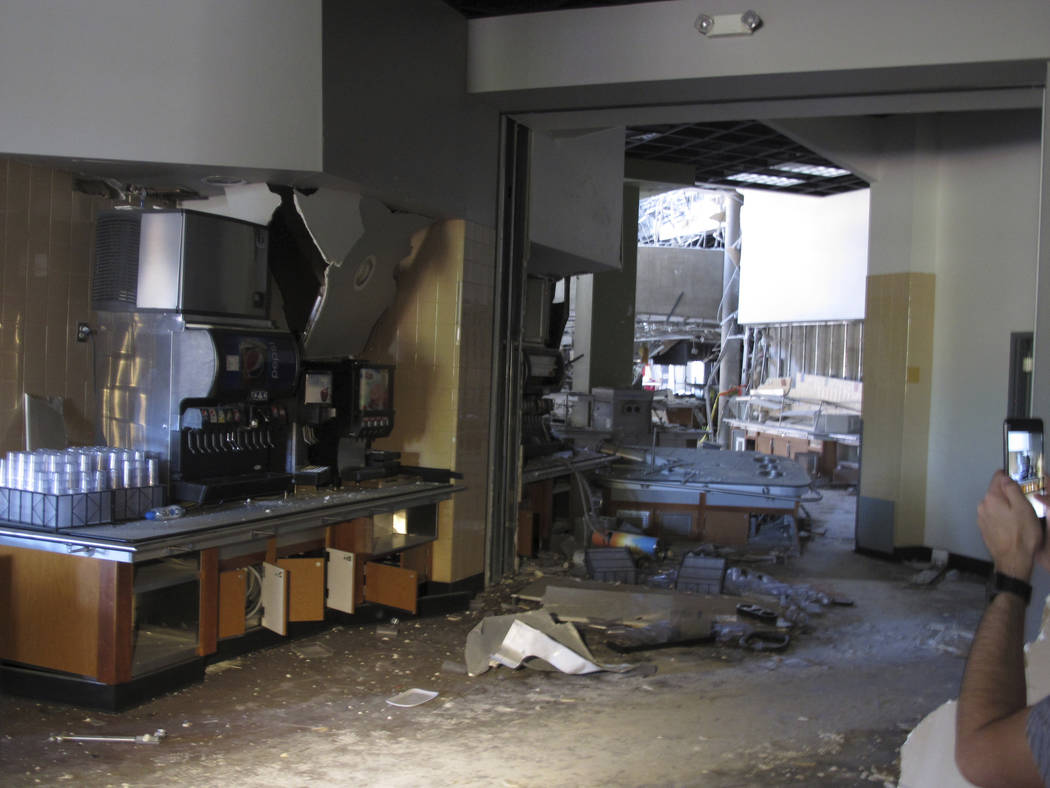 This photo taken Thursday, July 11, 2019 shows some of the damage in the first-floor cafeteria ...