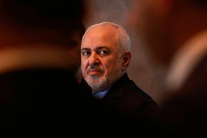 A March 10, 2019, file photo, shows Iranian Foreign Minister Mohammad Javad Zarif attending a p ...