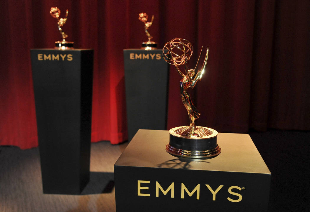 Emmy statuettes appear on stage prior to the start of the 71st Primetime Emmy Nominations Annou ...