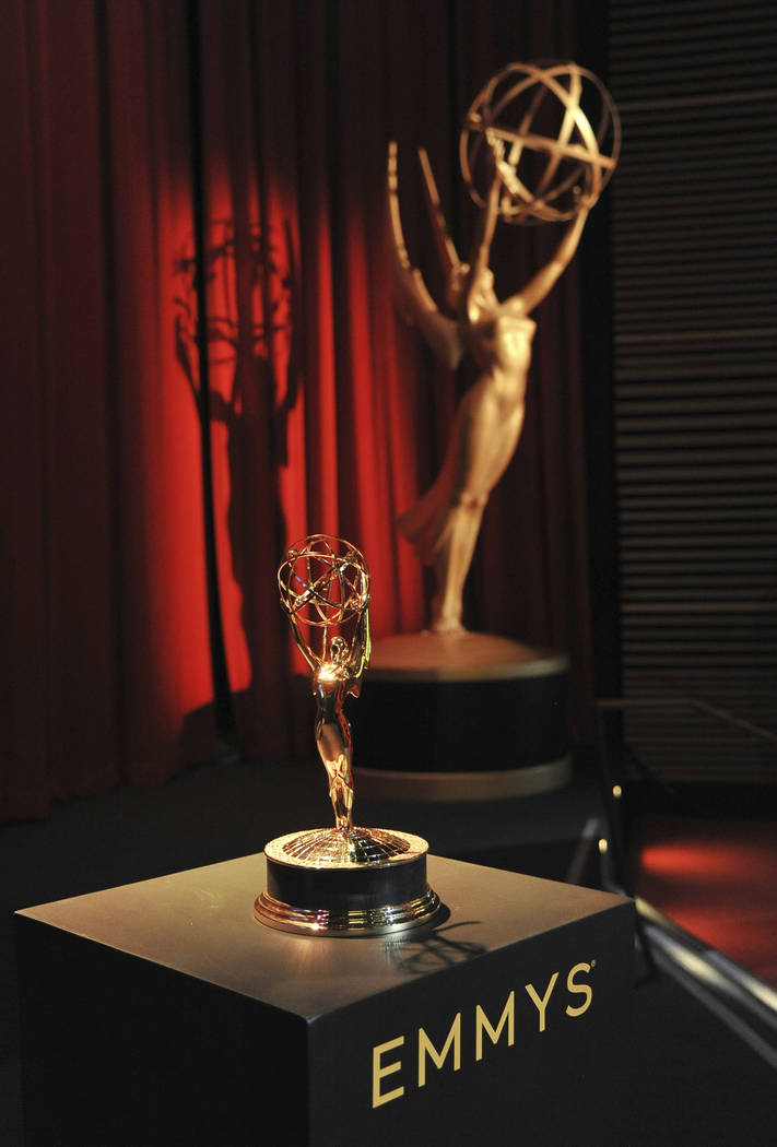 Emmy statuette and statue appear on stage prior to the start of the 71st Primetime Emmy Nominat ...
