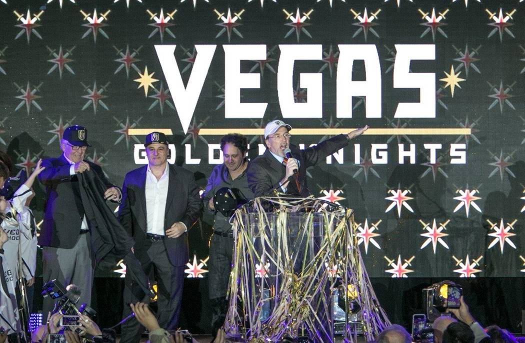 The Vegas Golden Knights team name and logo unveiling Tuesday, Nov. 22, 2016, outside T-Mobile ...
