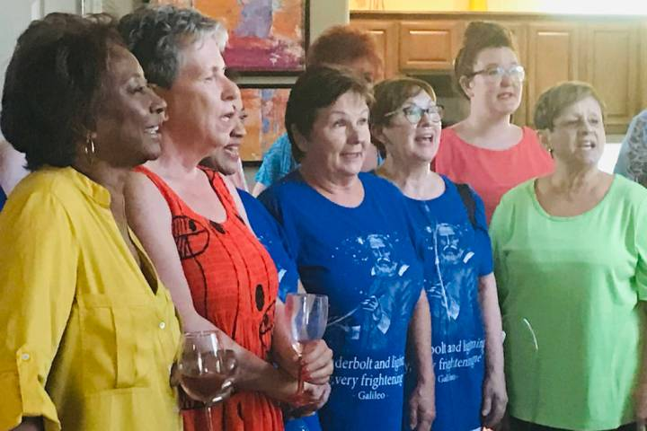 Members of the Lady Luck Showtime Chorus sing Saturday, July 13, 2019, at Jennifer Ringler's ...