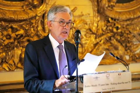 U.S. Federal Reserve Chairman Jerome Powell speaks during a dinner hosted by the Bank of France ...