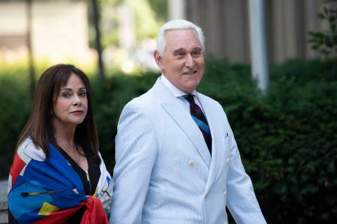 Roger Stone, a longtime confidant of President Donald Trump, accompanied by his wife Nydia Ston ...