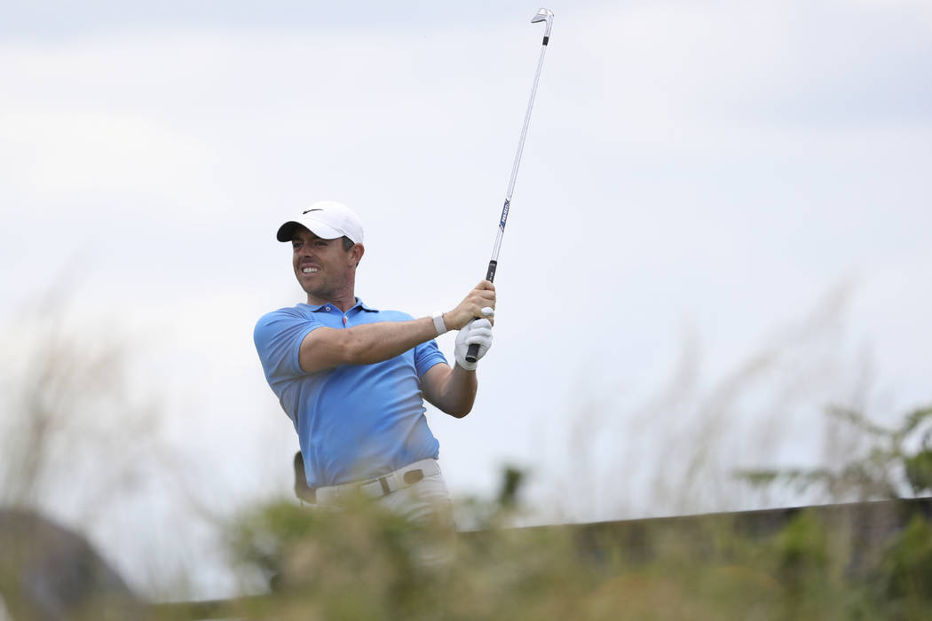 Northern Ireland's Rory McIlroy tees off the 3rd during a practice round ahead of the start of ...