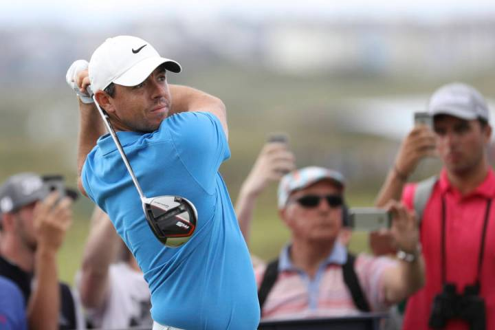 Northern Ireland's Rory McIlroy plays his tee shot at the 4th during a practice round ahead of ...