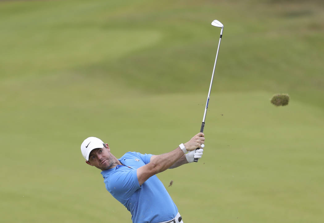 Northern Ireland's Rory McIlroy plays a shot on the 8th fairway during a practice round ahead o ...