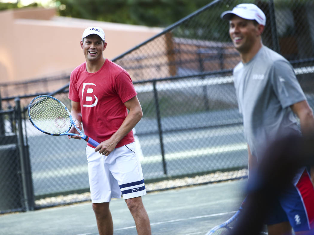 Bob Bryan, left, and Mike Bryan help lead a tennis clinic held at the Stirling Club at Turnberr ...