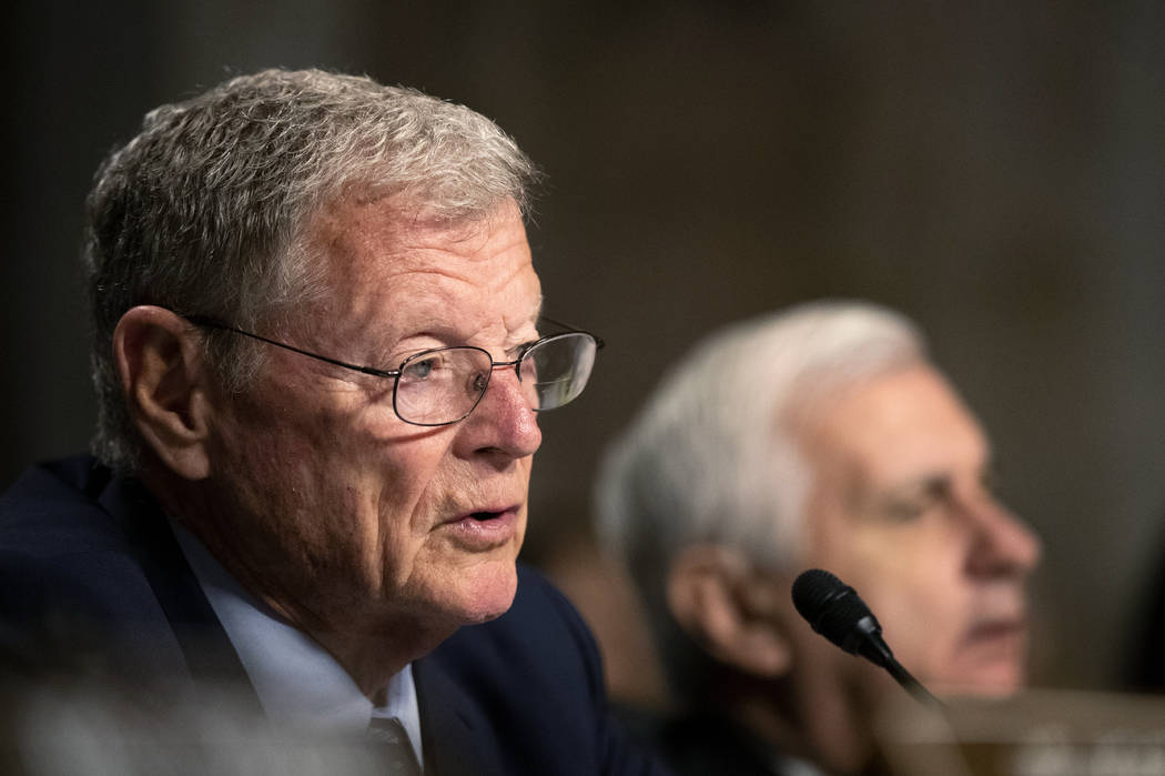 Senate Armed Services Committee Chairman Sen. James Inhofe, R-Okla., with ranking member Sen. J ...