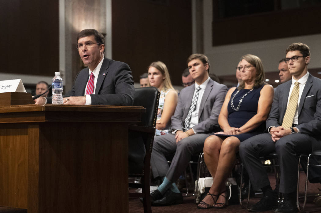 Secretary of the Army and Secretary of Defense nominee Mark Esper accompanied by his family, fr ...