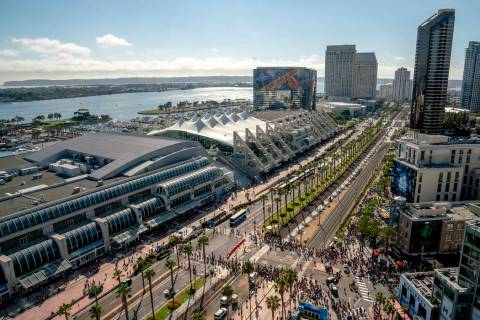A July 20, 2018, file photo shows an aerial view of the San Diego Convention Center, the site o ...