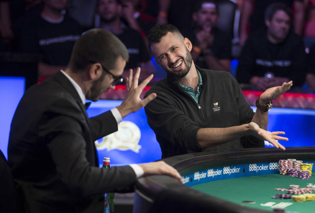 Alex Livingston, right, from Canada, jokes with Dario Sammartino, from Italy, during the World ...