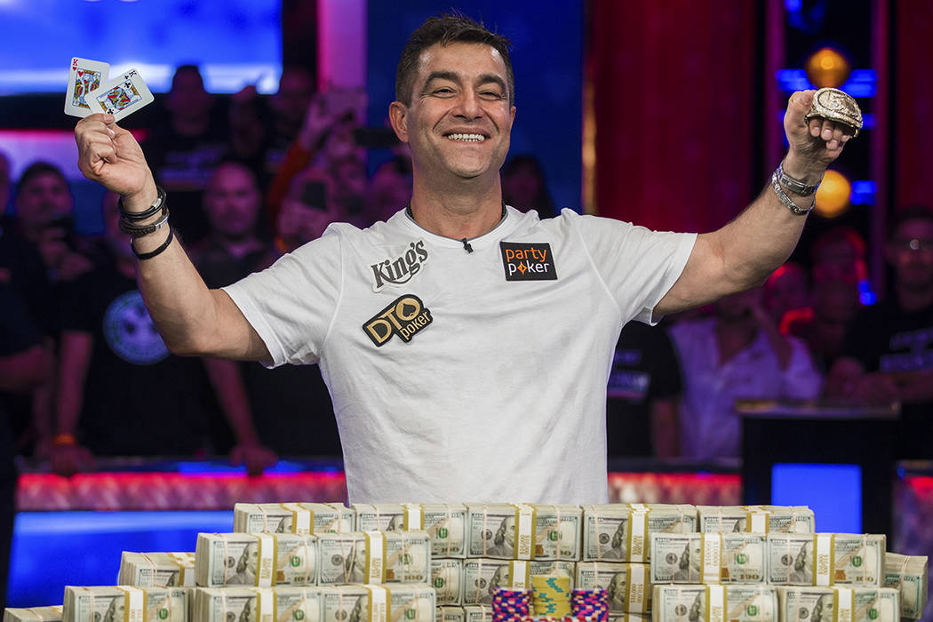 Hossein Ensan celebrates after winning the World Series of Poker Main Event on Wednesday, July ...
