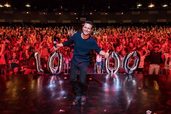 Linq Hotel headliner Mat Franco celebrates his 1,000th show at the theater named for him on Tue ...