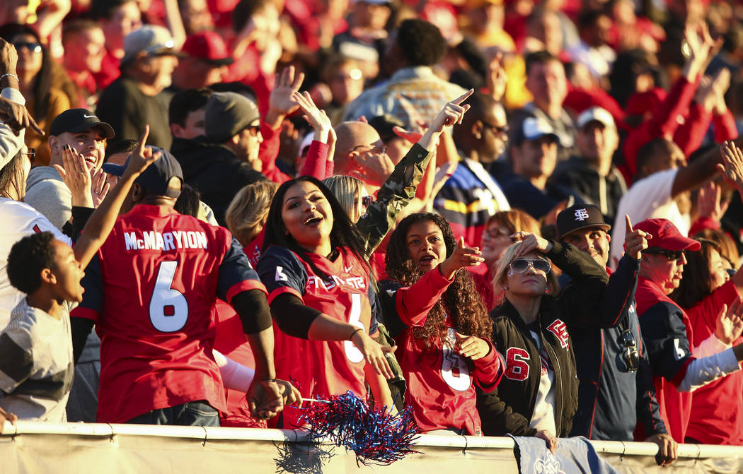 Chase Stevens/Las Vegas Review-Journal Fresno State fans were cheering during the Las Vegas Bow ...