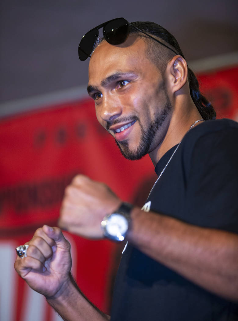 Boxer Keith Thurman poses during his grand arrival to the MGM Grand, Tuesday, July 16, 2019, in ...